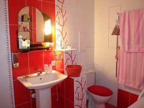 ванная комната в черно-белом-красном дизайне фото