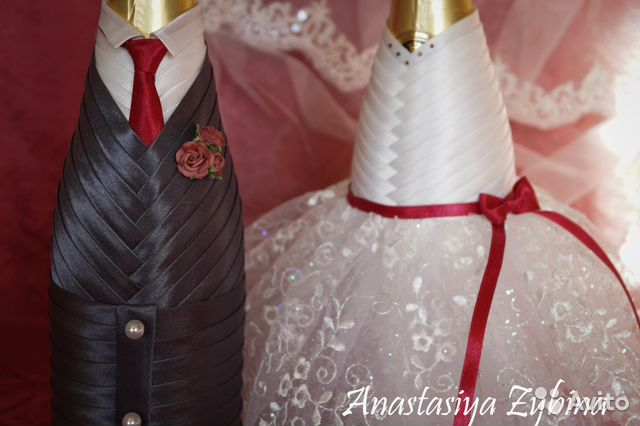 Бутылка шампанского жених и невеста на свадьбу своими руками 93