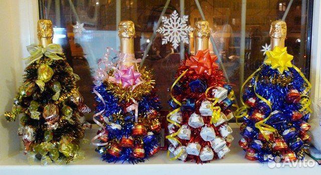 Ёлочка из конфет и шампанского своими руками