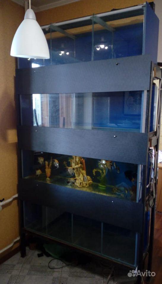 Стойка с 4 аквариумами 130х40Х197