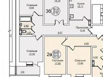 3-к квартира, 75.8 м², 2/5 эт.