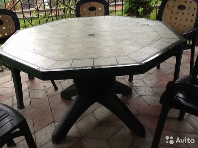 Пластиковый стол и стулья для дачи