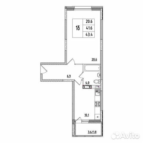 1-к квартира, 43.4 м², 1/16 эт.