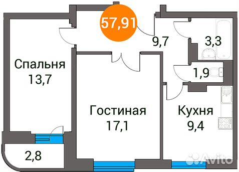 Продается двухкомнатная квартира за 3 648 330 рублей. Московская область, Пушкинский район, посёлок городского типа Зеленоградский, улица Зелёный Город, 5.