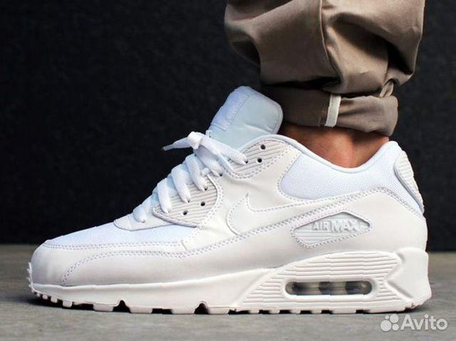 595fbce7 Кроссовки Nike Air Max 90 мужские белые кожаные купить в Москве на ...