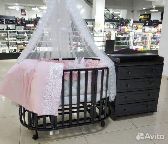 Круглая кроватка маятник на колёсах + комод + матр купить в Москве ... 12ce0a867dd