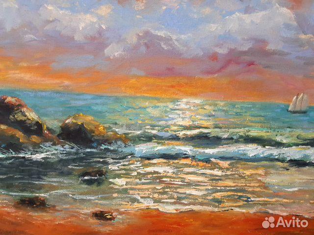 Картина Море. Тучи. Холст на картоне/масло, 30х4 89179297230 купить 4