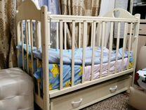 Детская кроватка с 2х сторонним матрасом и бортика