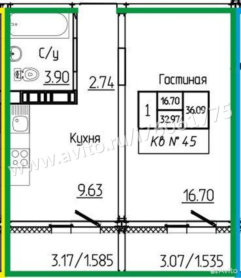 1-к квартира, 36.1 м², 5/17 эт.