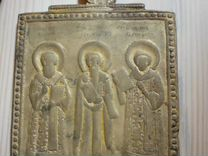 Старинная икона Три Столба Пластика литье бронза