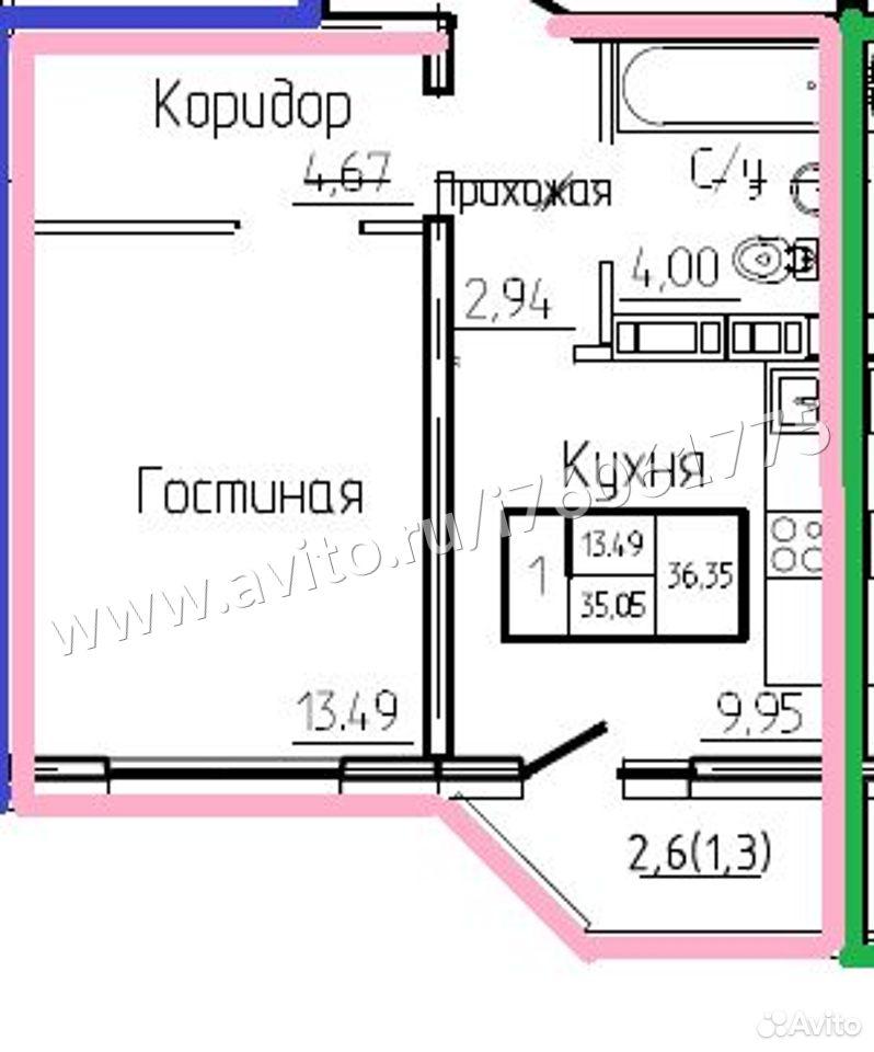 1-к квартира, 36.4 м², 6/17 эт.