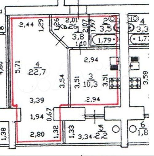 1-к квартира, 39.2 м², 7/9 эт.  89278826910 купить 1